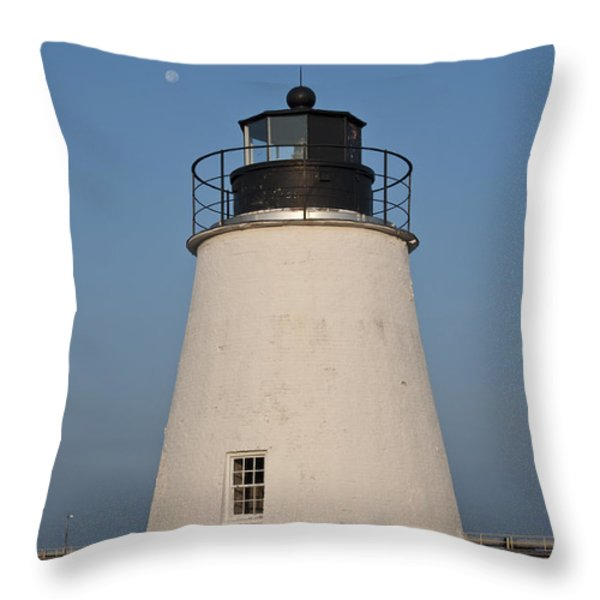 The Moon Behind The Piney Point Lighthouse Throw Pillow by Bill Cannon