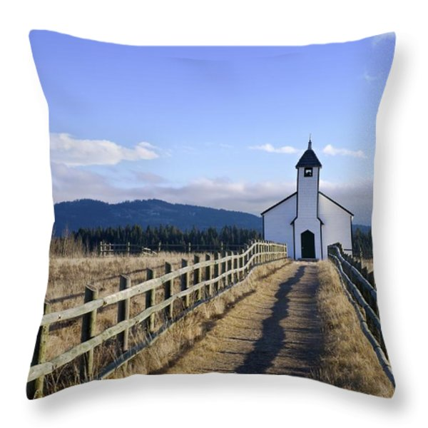 The Morley Church, Alberta, Canada Throw Pillow by Philippe Widling