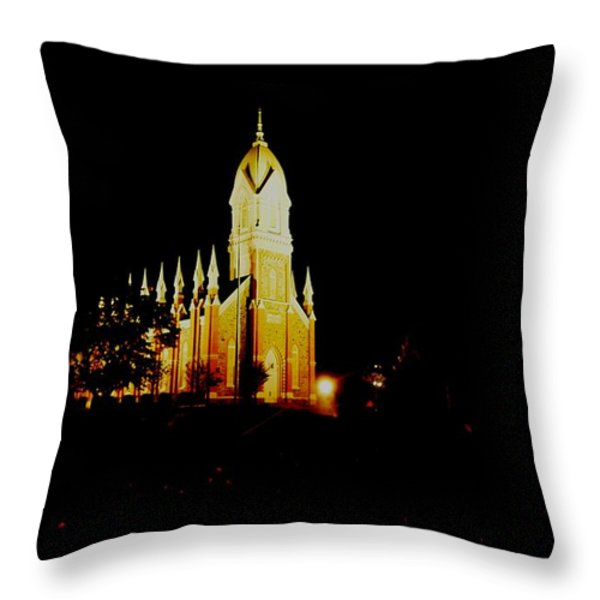 The Morman Temple In Brigham City Throw Pillow by Jeff Swan