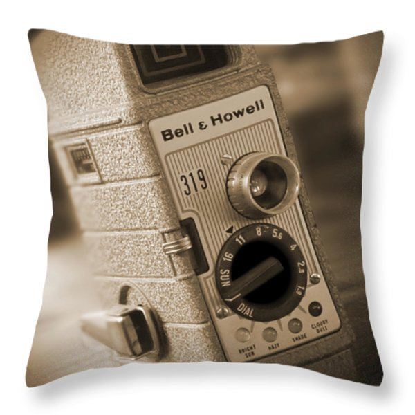 The Movie Camera Throw Pillow by Mike McGlothlen