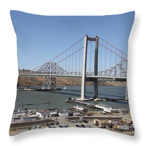 The New Alfred Zampa Memorial Bridge And The Old Carquinez Bridge . 5d16798 Throw Pillow by Wingsdomain Art and Photography