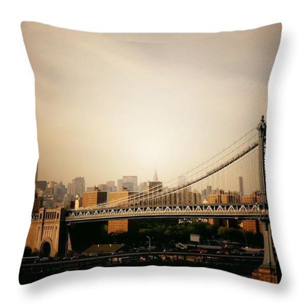 The New York City Skyline And Manhattan Bridge At Sunset Throw Pillow by Vivienne Gucwa