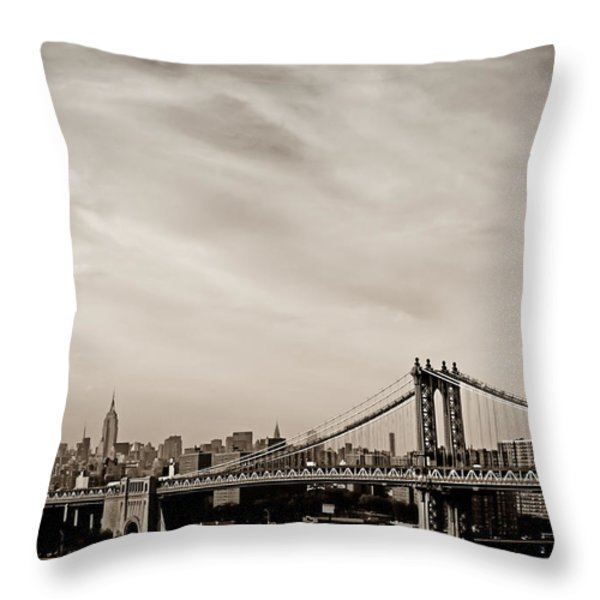 The New York City Skyline And The Manhattan Bridge Throw Pillow by Vivienne Gucwa