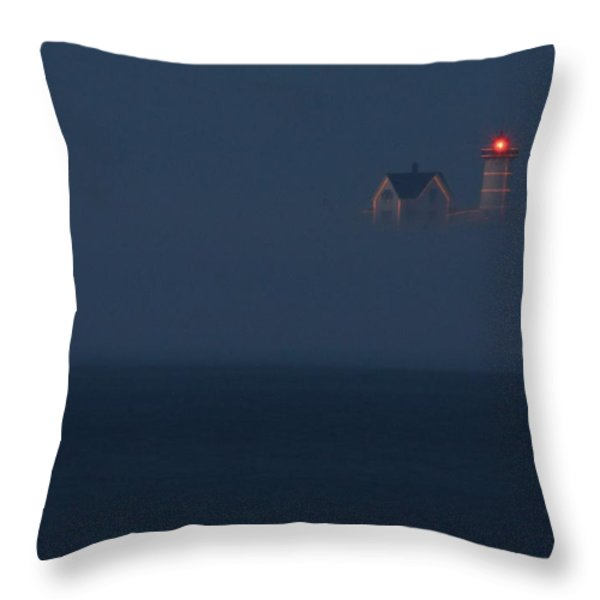 The Nubble at Night Throw Pillow by Lori Deiter