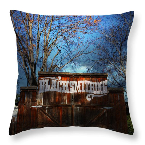 The Old Blacksmith . 7d12956 Throw Pillow by Wingsdomain Art and Photography