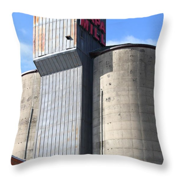 The Old Napa Mill in Napa California Wine Country Throw Pillow by Wingsdomain Art and Photography