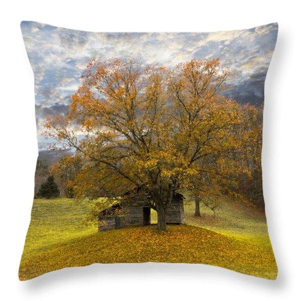 The Old Oak Tree Throw Pillow by Debra and Dave Vanderlaan