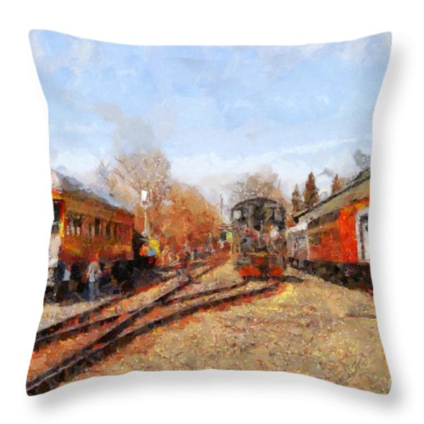 The Old Sacramento Central Train Depot . 7d11513 Throw Pillow by Wingsdomain Art and Photography