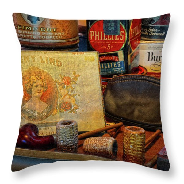 The Old Smoke Shop Throw Pillow by Dave Mills