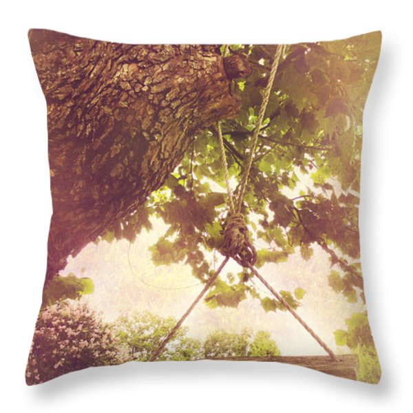 The Old Swing Throw Pillow by Susan Bordelon