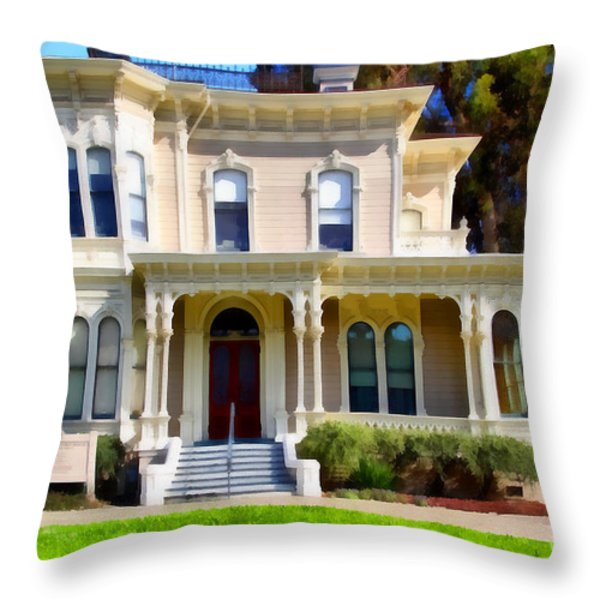 The Old Victorian Camron-Stanford House in Oakland California . 7D13440 Throw Pillow by Wingsdomain Art and Photography