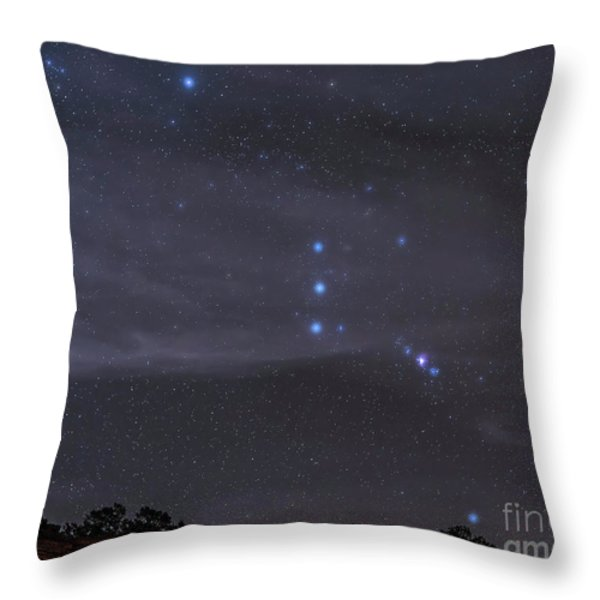 The Orion Constellation Rises Throw Pillow by John Davis