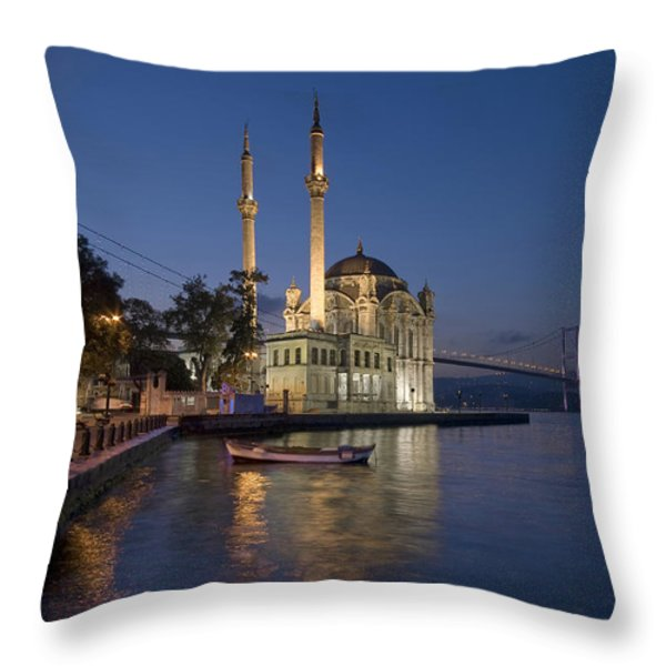 The Ortakoy Mosque and Bosphorus Bridge at dusk Throw Pillow by Ayhan Altun