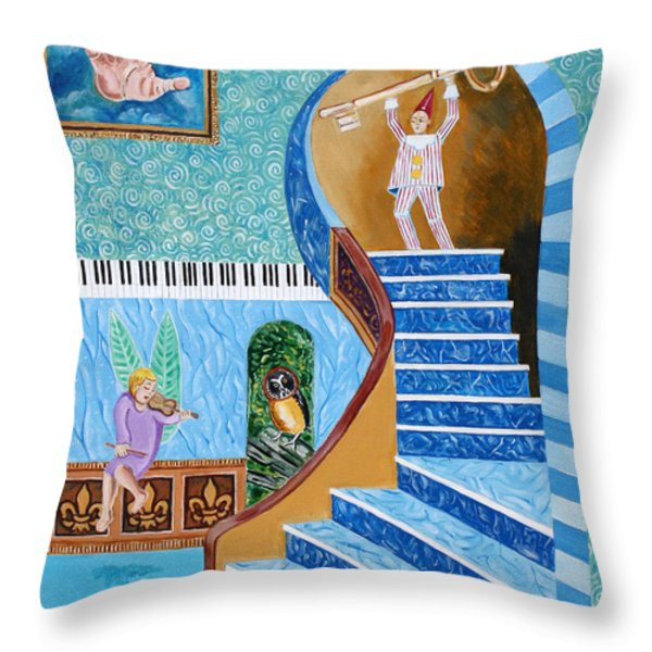 The Owl And The Golden Key Throw Pillow by John Keaton