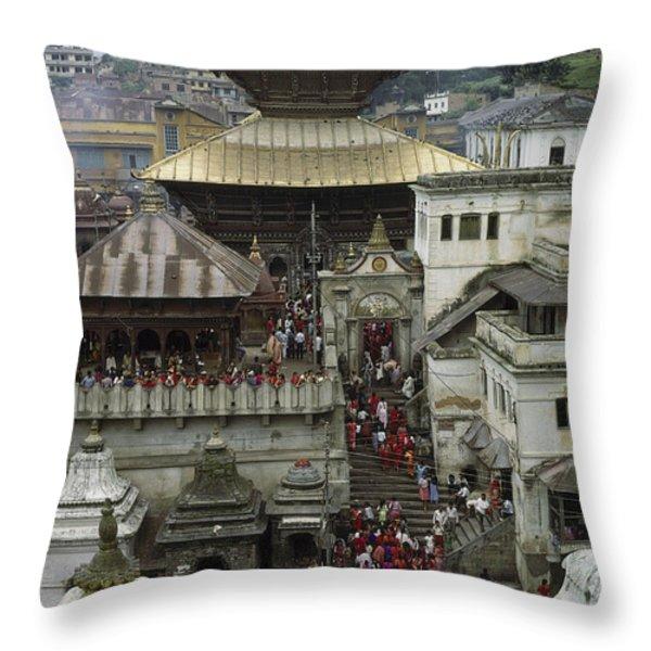 The Pashupatinath Temple Throw Pillow by James P. Blair