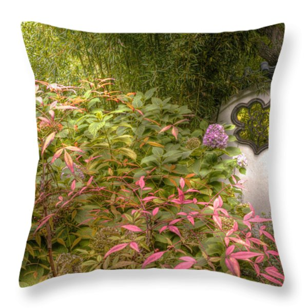 The Path To The Temple Tree Throw Pillow by William Fields