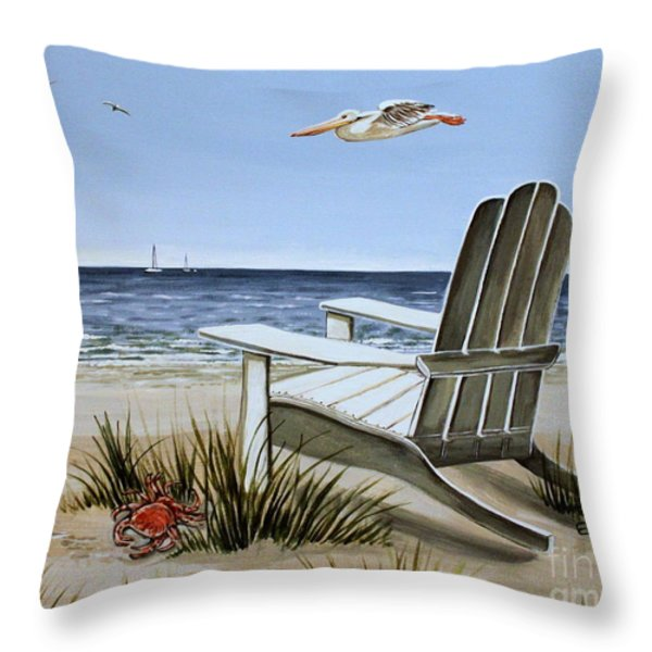 The Pelican Throw Pillow by Elizabeth Robinette Tyndall