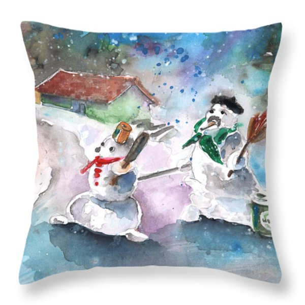 The People From The Troodos Mountains Throw Pillow by Miki De Goodaboom