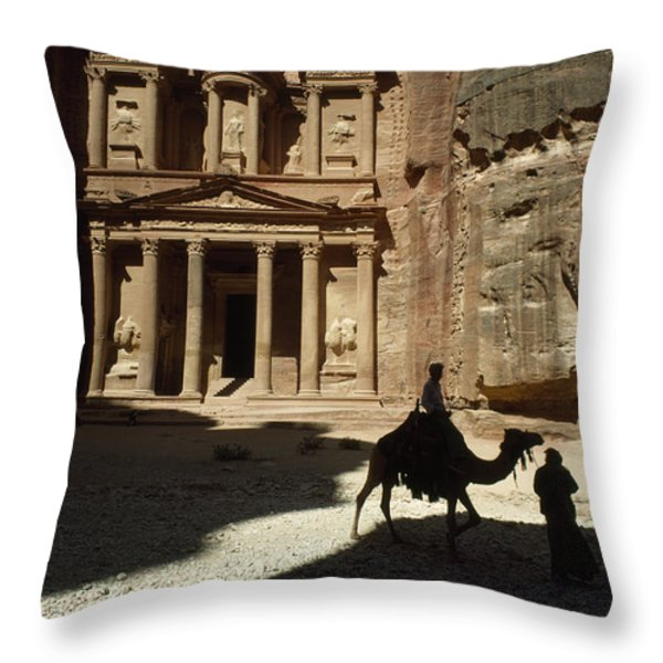 The Pharaohs Treasury Or Khazneh Throw Pillow by James L. Stanfield
