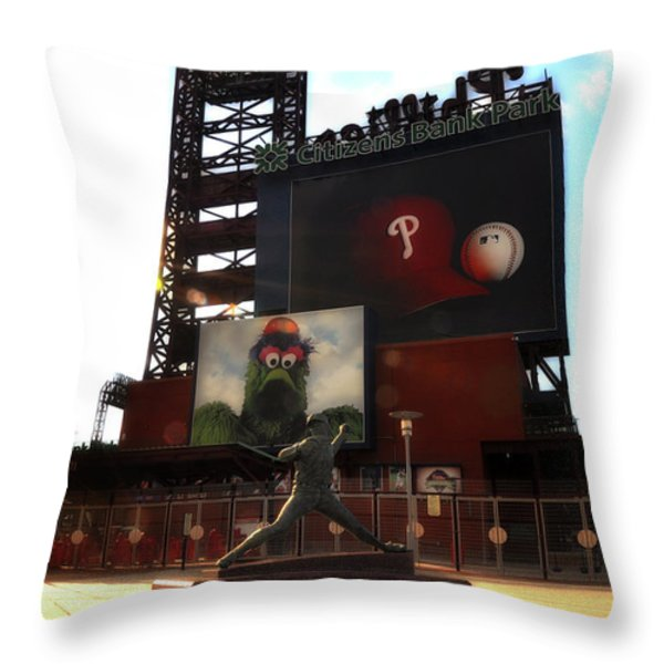 The Phillies - Steve Carlton Throw Pillow by Bill Cannon