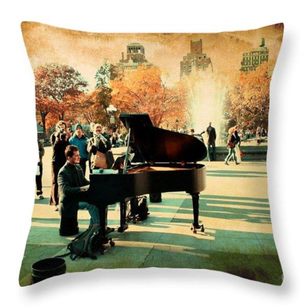 The Piano Man Throw Pillow by Ken Marsh