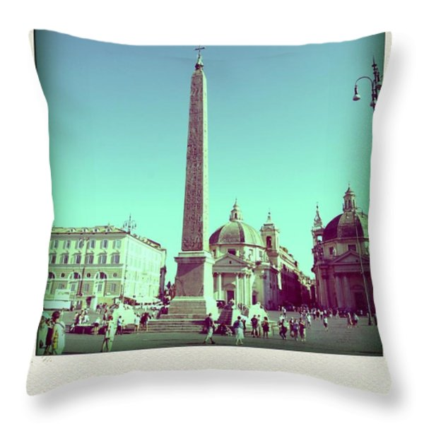 The Piazza Del Popolo. Rome Throw Pillow by Bernard Jaubert