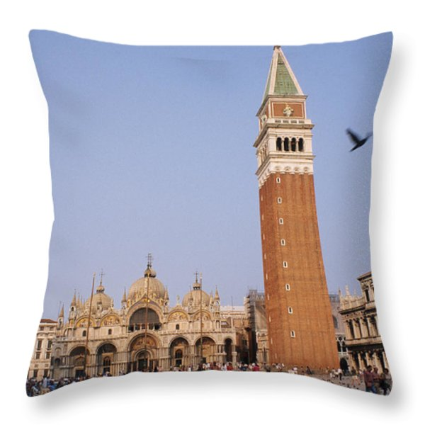 The Piazza San Marco Is The Focal Point Throw Pillow by O. Louis Mazzatenta