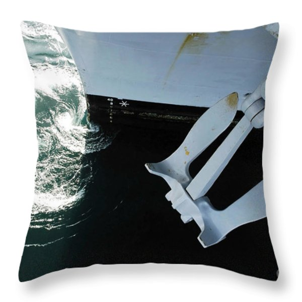 The Port Side Mark II Stockless Anchor Throw Pillow by Stocktrek Images