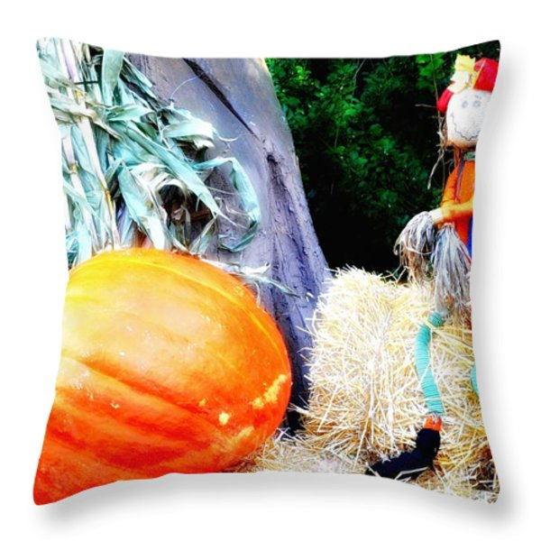 the Pumpkin and the Scarecrow Throw Pillow by Bill Cannon