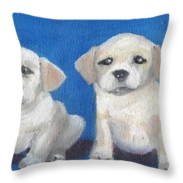 The Pups 2 Throw Pillow by Roger Wedegis