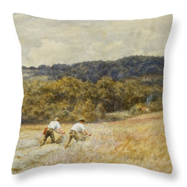 The Reapers Throw Pillow by Helen Allingham