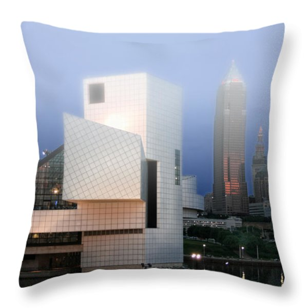 The Rock And Roll Hall Of Fame Throw Pillow by Richard Gregurich