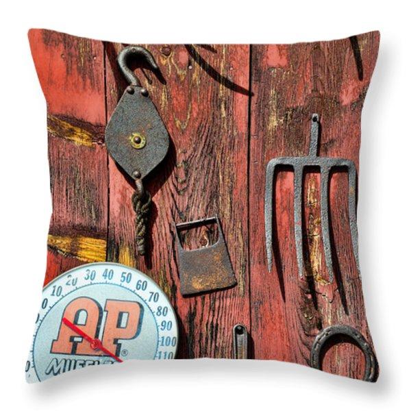 The Rusty Barn - Farm Art Throw Pillow by Paul Ward