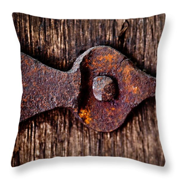 The Rusty Hinge Throw Pillow by Lisa Russo