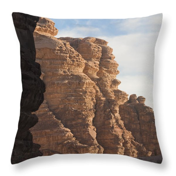The Sandstone Cliffs Of The Wadi Rum Throw Pillow by Taylor S. Kennedy