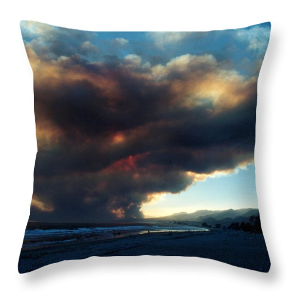 The Santa Barbara Fire Throw Pillow by Jerry McElroy