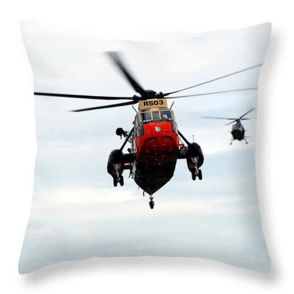 The Sea King Helicopter And The Agusta Throw Pillow by Luc De Jaeger