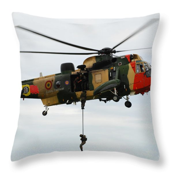 The Sea King Helicopter Of The Belgian Throw Pillow by Luc De Jaeger