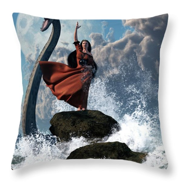 The Sea Witch Throw Pillow by Daniel Eskridge