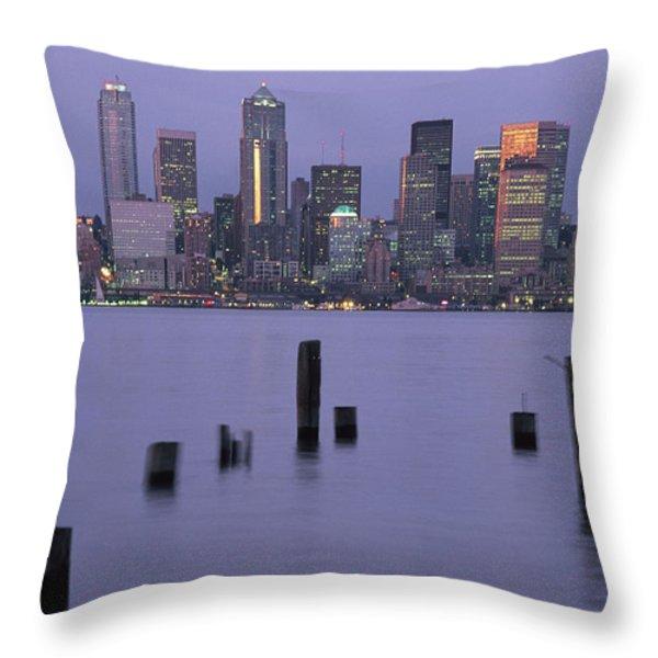 The Seattle Skyline Throw Pillow by Phil Schermeister