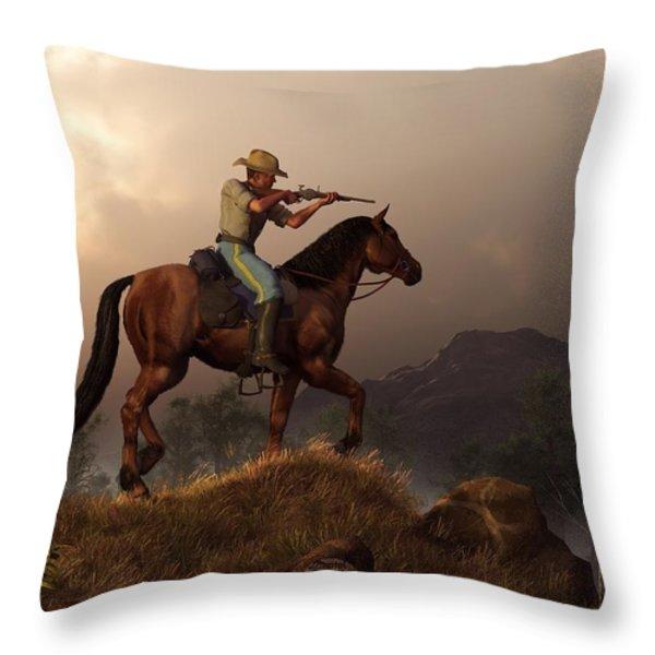 The Sharpshooter Throw Pillow by Daniel Eskridge