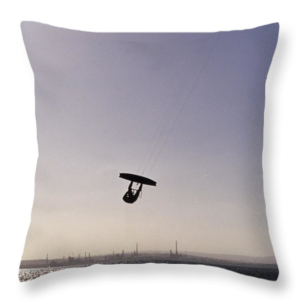 The Silhouette Of A Person Kite Throw Pillow by Jason Edwards