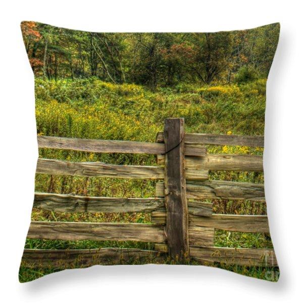 The Split Rail Meadow Throw Pillow by Benanne Stiens