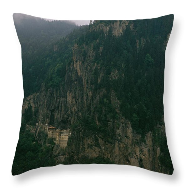 The Sumela Monastery Clings To Mountain Throw Pillow by Randy Olson