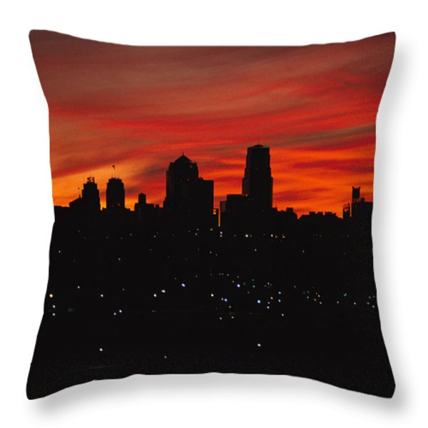 The Sun Rises Over The Skyline Throw Pillow by Stephen Alvarez