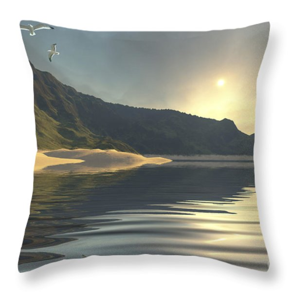 The Sun Sets On A Beautiful Throw Pillow by Corey Ford