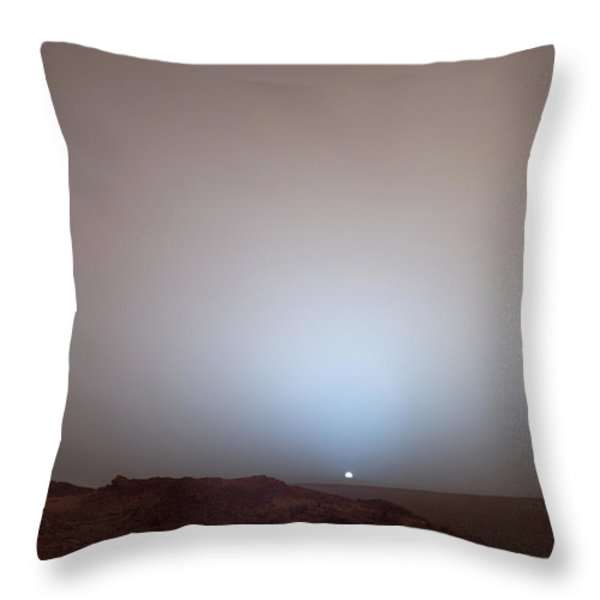 The Sun Setting Below The Rim Of Gusev Throw Pillow by Nasa