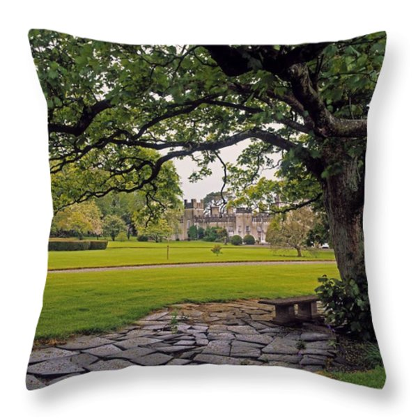 The Sundial Terrace, Glin Castle, Co Throw Pillow by The Irish Image Collection