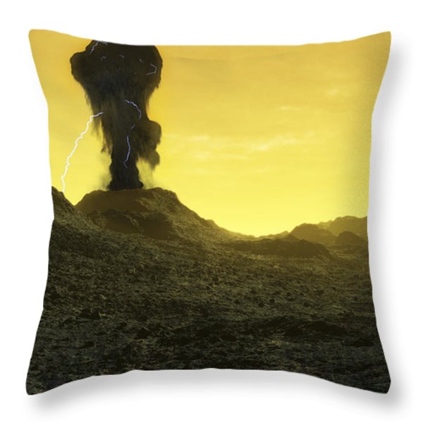 The Surface Of An Infernal Planet Throw Pillow by Fahad Sulehria