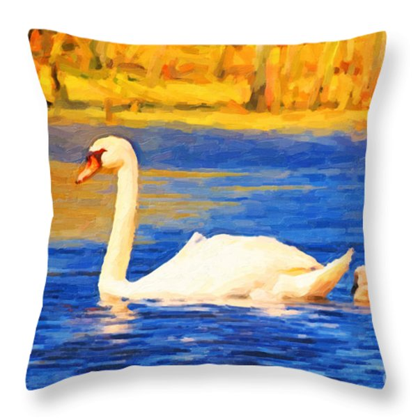 The Swan Family . Photoart Throw Pillow by Wingsdomain Art and Photography
